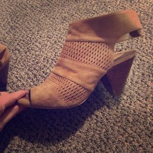 Shoes - Cute suede open toe wedges .